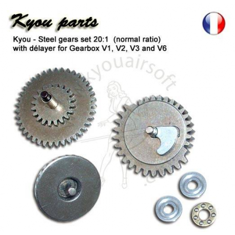 Image du produit Kyou - Steel gears set 20:1 (normal ratio) with délayer for Gearbox V1, V2, V3 and V6